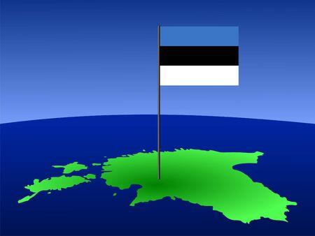 estonian: map of Estonia and Estonian flag on pole illustration Stock Photo