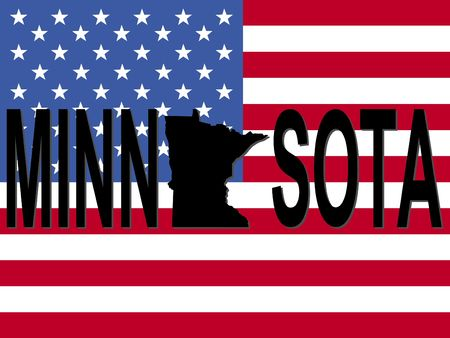 Minnesota text with map on American flag illustration