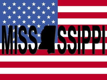 Mississippi text with map on American flag illustration Reklamní fotografie - 2121312