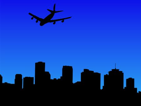 arriving: four engine plane arriving in New Orleans illustration Stock Photo