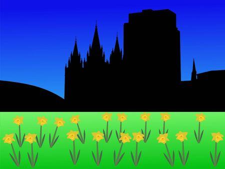 salt lake city: Salt Lake city skyline in spring with daffodils illustration Stock Photo
