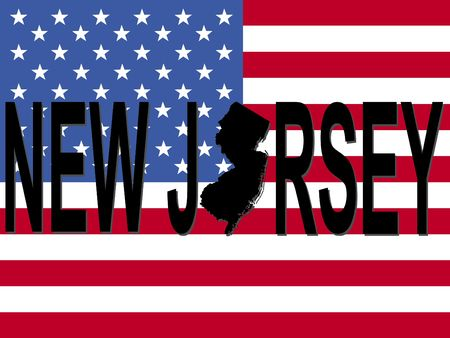 New Jersey text with map on American flag illustration