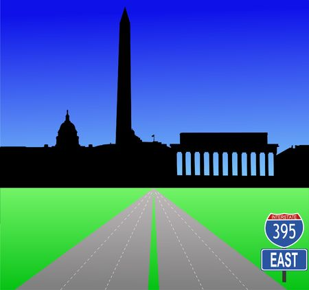Interstate 395 leading to Washington DC skyline with Capitol building and Washington and Lincoln Monument photo