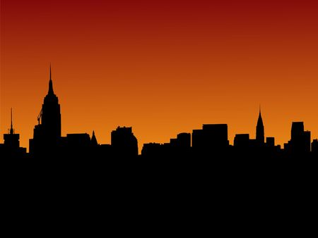 chrysler building: Midtown Manhattan skyline at sunset illustration with over 30 separate buildings in format