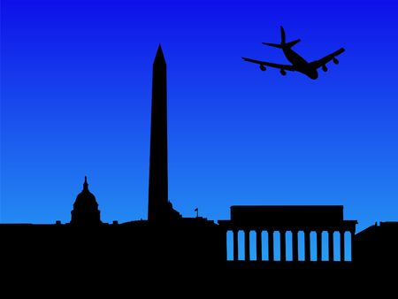 arriving: four engine plane arriving in Washington DC illustration