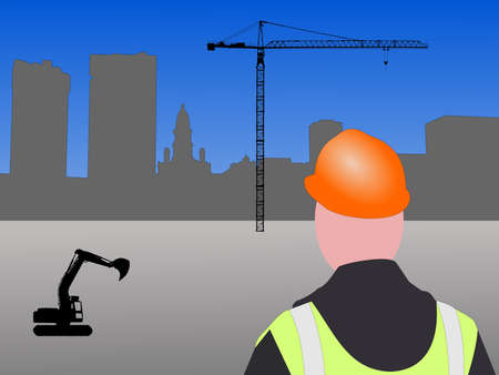 fort worth construction site with worker and crane photo