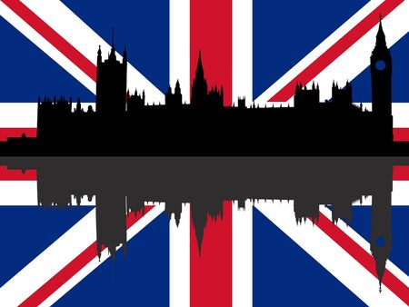 Houses of Parliament London reflected with British flag Stock Photo - 2174837