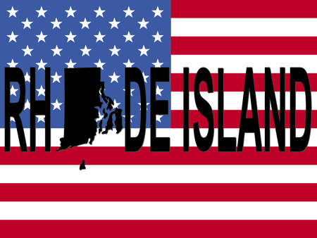 Rhode Island text with map on American flag illustration illustration