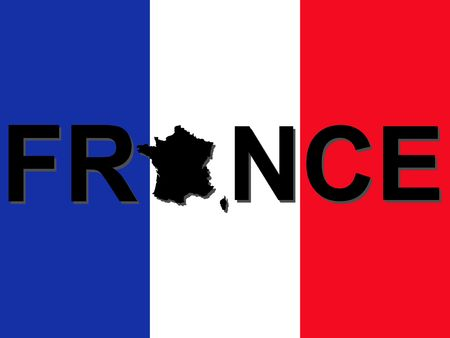 french symbol: France text with map on French flag illustration Stock Photo