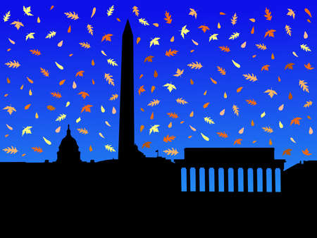 Washington DC skyline in autumn with falling leaves photo