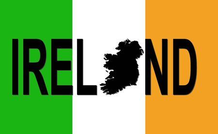 irish map: Ireland text with map on Irish flag illustration