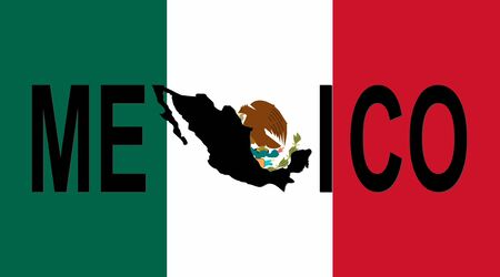 Mexico text with map on Mexican flag illustration illustration