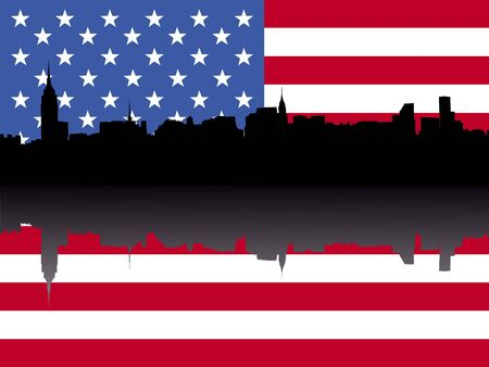 chrysler building: Midtown Manhattan skyline reflected with American flag
