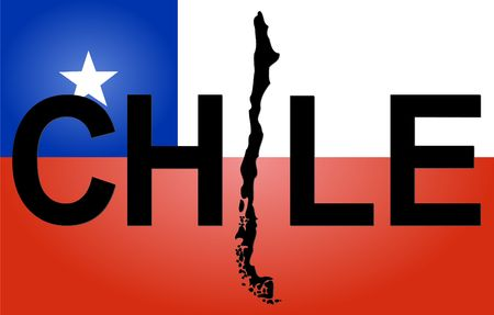 Chile text with map on Chilean flag illustration illustration
