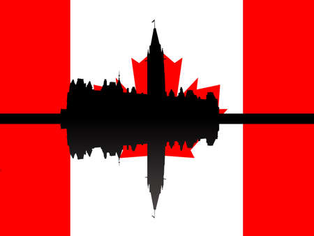 Canadian parliament building against flag illustration illustration