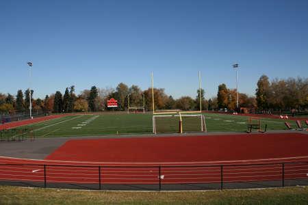 High school running track and football field