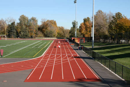 High school running track and football field