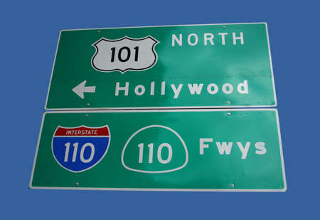 sign to Hollywood freeway and interstate 110 in downtown Los Angeles Stock Photo