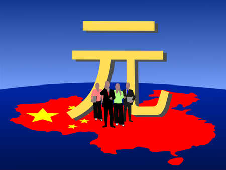 Chinese business team with map flag and currency photo