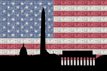 greenbacks: Washington DC skyline with ten dollar bills and American flag