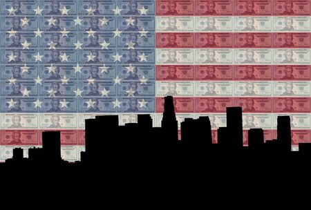 Los Angeles with twenty dollar bills and American flag photo