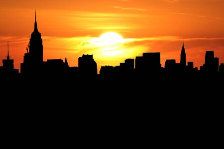 Midtown Manhattan skyline at sunset with beautiful sky Stock Photo