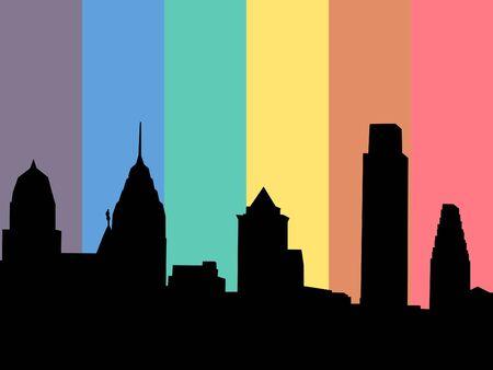 pennsylvania: Philadelphia skyline with rainbow flag illustration