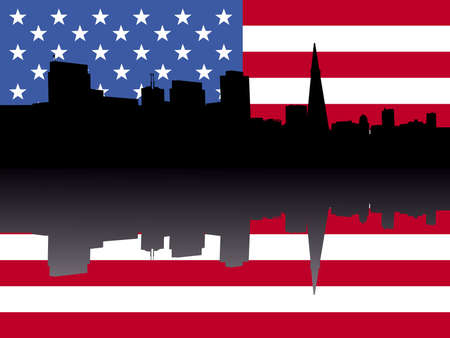 transamerica: San Francisco skyline with American flag illustration Stock Photo