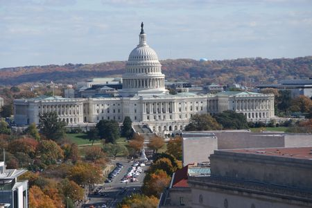 elevated view of Capitol Building Washington DC photo