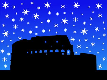 Colosseum Rome in winter with falling snow photo