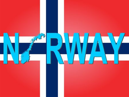 norwegian flag: Norway text with map on flag illustration Stock Photo
