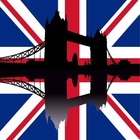 gherkin building: Tower Bridge London reflected against British Flag illustration