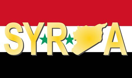 Syria text with map on flag illustration illustration