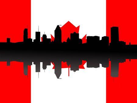montreal: Montreal skyline against Canadian Flag illustration