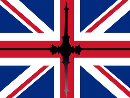 Nelsons Column Trafalgar Square reflected against British flag photo