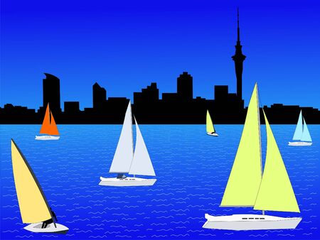 Auckland skyline with colourful yachts sailing illustration