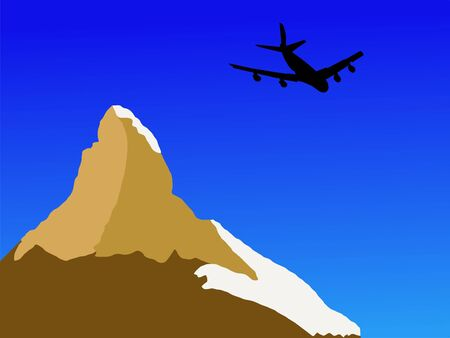 Four engine plane flying past Matterhorn in Switerland Stock Photo - 2245347