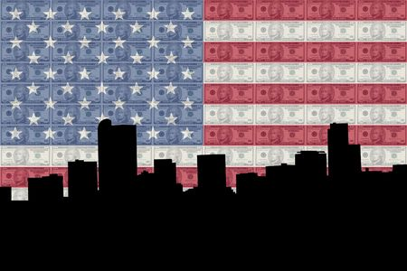 greenbacks: Denver skyline with ten dollar bills and American flag