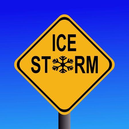 Warning Ice storm sign on blue sky photo