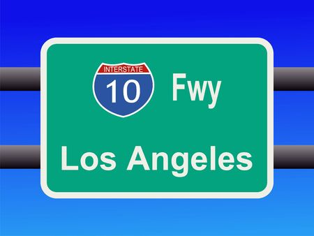 angeles: freeway to downtown Los Angeles sign illustration Stock Photo