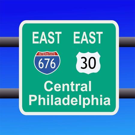 philadelphia: freeway to central Philadelphia sign illustration