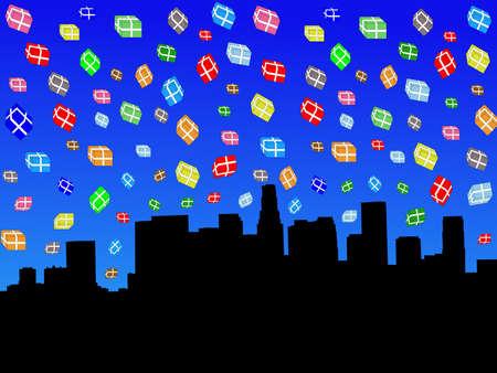 Los Angeles skyline with falling presents illustration illustration