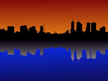 Melbourne Skyline reflected at sunset illustration Stock Illustration - 2251751