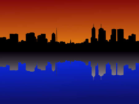 Melbourne Skyline reflected at sunset illustration Stock Illustration - 2251751
