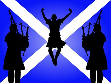 scottish: pipers and highland dancer jumping with Scottish flag Illustration