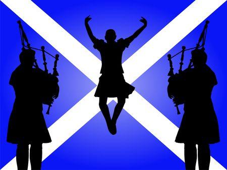 scottish flag: zampognari e ballerino altopiano saltando con bandiera scozzese illustrazione  Archivio Fotografico