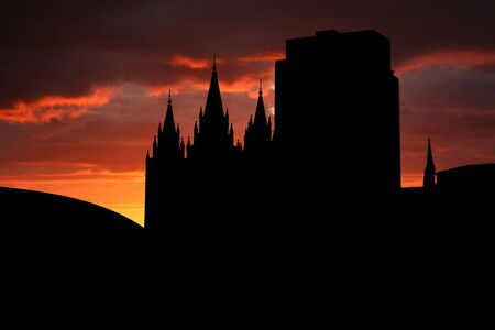 mormon temple: Salt Lake city at sunset with beautiful sky