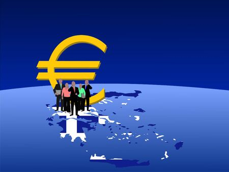 Greek business team with map flag and euro symbol photo