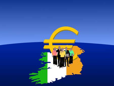 irish map: Irish business team with map flag and euro symbol