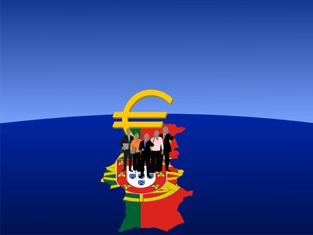 Portuguese business team with map flag and euro symbol photo